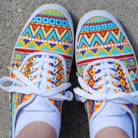 SALE - 25% OFF - Hand Painted Aztec Shoes - Custom Order