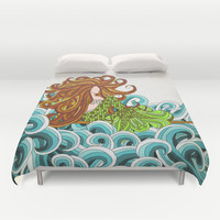 Mermaid Waves Duvet Cover by ArtLovePassion