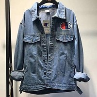 Champion behind the multi-label logo denim jacket multi-standard denim F0783-1 Light blue