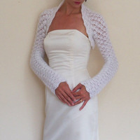 WEDDING SHRUG bridal BOLERO hand crochet from white mohair