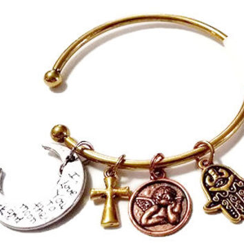 Hamsa Hand with evil eye moon angel cross charm bangle aged style bracelet full protection