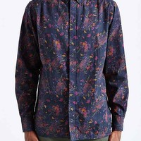 Globe Rose Button-Down Shirt- Black