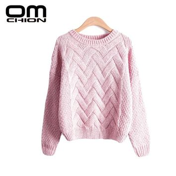OMCHION Pull Femme Winter Women Sweaters And Pullovers Korean Plaid Thick Knit Mohair Sweater Loose Jumper LMY12