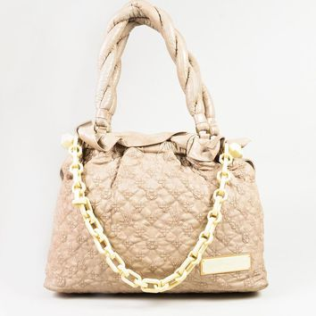 "Louis Vuitton ""Ecru"" Beige Monogram Lambskin ""Olympe Stratus GM"" Bag"