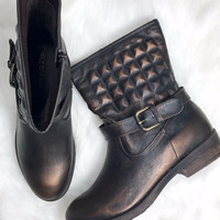 Road Warrior Brown Metallic Moto Boots