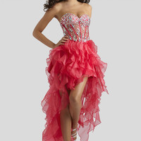 Clarisse 2014 Poppy Pink and Poppy Purple Strapless Sweetheart High Low Beaded Prom Dress 2312 | Promgirl.net