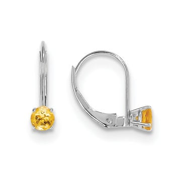 14k White Gold 4mm Round November/Citrine Leverback Earrings XBE275