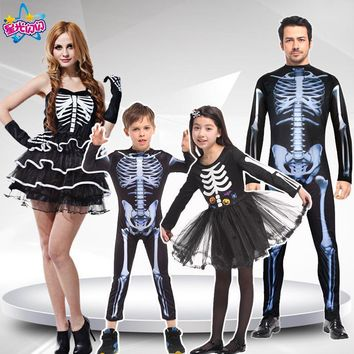 Skull Skulls Halloween Fall Adult Men Women Children halloween party cosplay  devil ghost ghoul costumes with Skeleton printing zombie Mummy clothes Calavera