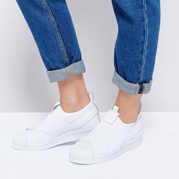 adidas Originals White Superstar Slip On Sneakers at asos.com
