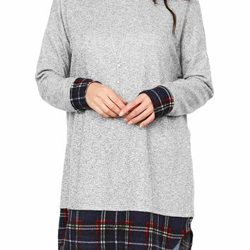 Plaid Splice Gray Long Sleeve Tunic Top