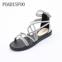 POADISFOO WOMEN Summer style flats sandals Black grey color snadals Bohemian style sandals  .HYKL-A081