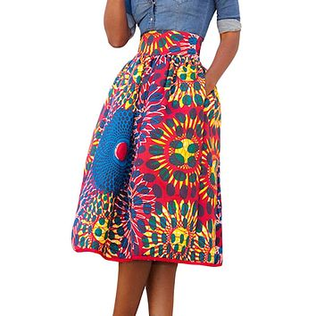 Women's African Print Knee Length Flare Skirts With Pockets, Red Blue Floral, Sizes Small - XLarge