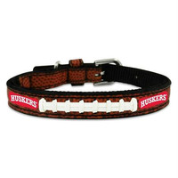 Nebraska Cornhuskers Classic Leather Toy Football Collar