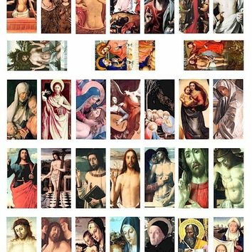 Jesus Christ collage digital download Mary Saints antique paintings religious art 1 BY 2 inch dominos jewelry pendant images