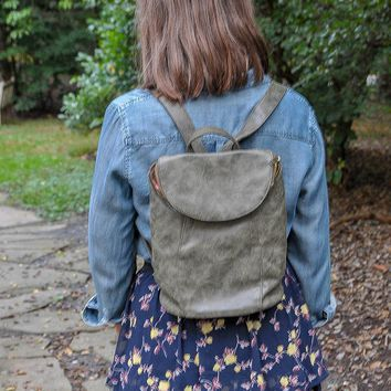 Distressed Leather Backpack - Olive