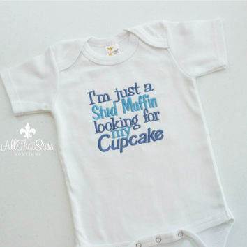 Baby Boys Bodysuit - Creeper - Outfit - Stud Muffin - Funny Onesuit - Baby Shower Gifts - Embroidered - Monogram - Boutique Clothing