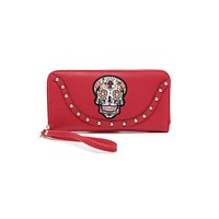 Western Cowgirl Sugar Skull Day of the Dead Embroidery Wristlet Zip Around Wallet