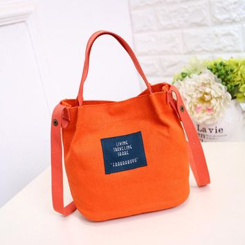 Korean Style Small Canvas Handbags Female Bags Single Shoulder Bags Mini Women Crossbody Bucket Shopping Bag