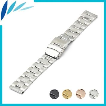Stainless Steel Watch Band 18mm 20mm 22mm 24mm for Orient Safety Clasp Strap Loop Belt Bracelet Black Rose Gold Silver + Tool