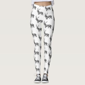 Dachshund with Antlers Black and White Leggings