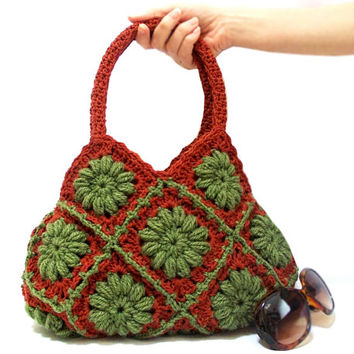 Crochet bag, Handmade- Crochet hand bag- Shoulder bag- Crochet purse- Green Cinnamon- Granny square bag- Crochet tote bag- Square pattern