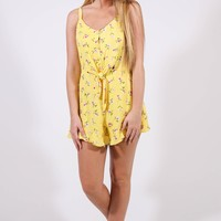 Pocket Full Of Sunshine Romper, Yellow Floral