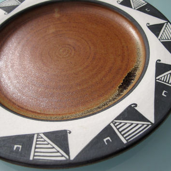 American Indian Design Pottery Plate Abstract Whale Black White Brown 8.25 inch Folk Art Symbolism