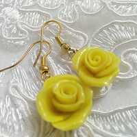 Yellow rose earrings, golden tone, flower girl earring, gift