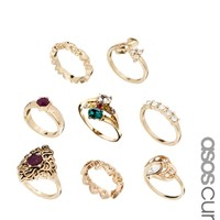 ASOS CURVE Granny's Treasure Box Ring Pack
