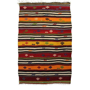 Louise Red/Orange Striped Pattern Kilim Area Rug