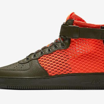 BC AUGUAU Nike Air Force SF AF1 Mid Mesh QS Cargo Khaki Orange Crimson AA7345-300