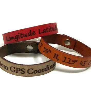 Genuine Leather, Latitude Longitude Bracelet, Custom Coordinates, GPS Bracelet, Laser Engraved Leather Bracelet, Personalized Mens Gifts