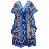 Mogulinterior Kaftan Dress Blue Elephant Printed Beach Coverup Muumuu Womens Caftan
