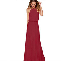 Halter Neck Sleeveless Maxi Beach Dress