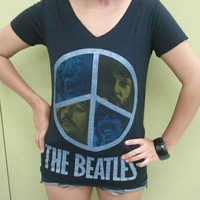 Retro Vintage The Beatles English Rock Band Women T-Shirt Very Thin Cotton Black Size S M
