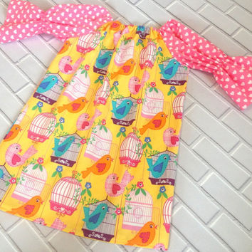 Girls Peasant Dress Ready To Ship 6 Baby Dress Toddler Clothes Pink Yellow Hearts Boutique Clothing By Lucky Lizzy's