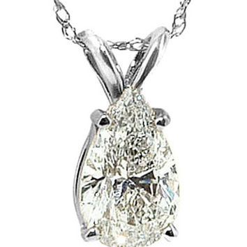 G SI1 pear diamond pendant 2 carat diamond necklace