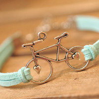 bike bracelet,retro silver love bike,alloy bracelet, blue leather braid bracelet---B062