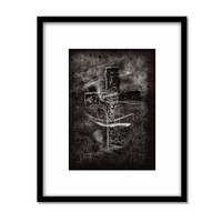 Cross, Grave Yard Photography Print, Rising, Ghostly Black and White Decor, Creepy Wall Art