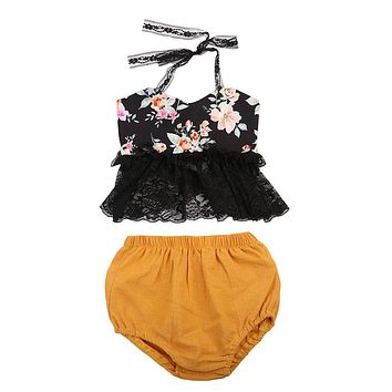 Baby Girls Backless Lace Tops Sleeveless Lace Shorts Flower Set Clothing 0-24M Infant Baby Girl Clothes Sets Summer Casual