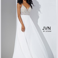 Jovani JVN33701 Beaded Top Chiffon Formal Prom Dress