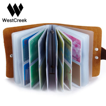 60 Slots Women Men Credit Card Holder Leather Buckle Large Capacity Business ID Holders Organizer Cardholder