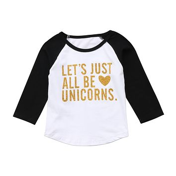 Fashion Kids Baby Girl Boy Long Sleeve Unicorn T-shirt Top Tees Outfits Clothes