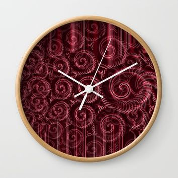 Maroon Decoration #2 Wall Clock by Moonshine Paradise