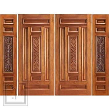 Pre-hung Entry Mahogany Carved 7 Panel Double Door Two Sidelites