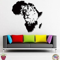 Wall Stickers Vinyl Animal Africa Lion Predator  Decor For Living Room Unique Gift (z1688)