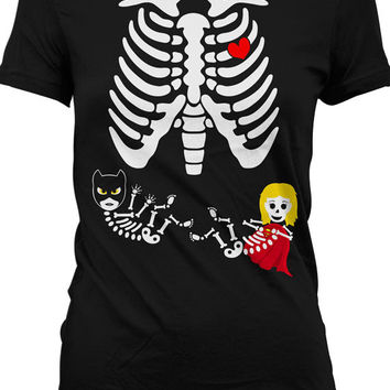 Pregnancy Halloween Costumes Pregnant Skeleton Shirt Twin Girls Skeleton Pregnancy Shirt Maternity Skeleton T Shirt Superhero Ladies MD-544