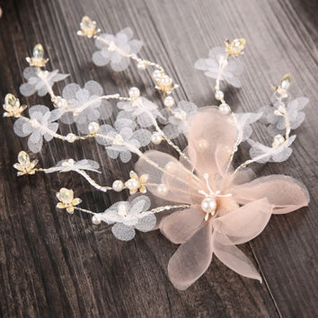 wedding party bridal romantic pink silk yarn voile flower with beads hair pin bride headband hair accessories hair jewelry