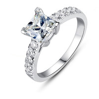 Princess Cut Solitaire Engagement Wedding Ring 1 Carat SONA Diamond Solid 14k White Gold (R384) = 1929364612