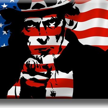 Uncle Sam on American Flag, I Want You Picture on Stretched Canvas, Wall Art Décor, Ready to Hang